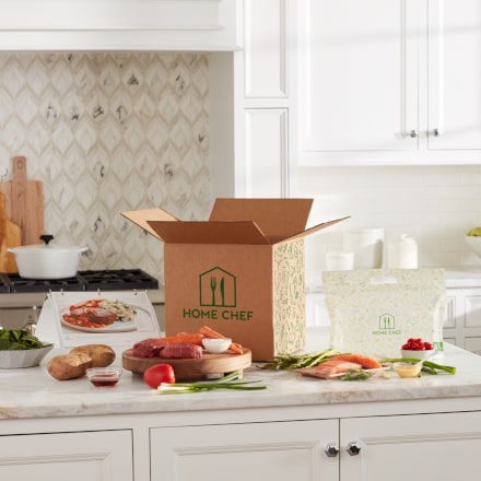 Open box on countertop, medium-distance