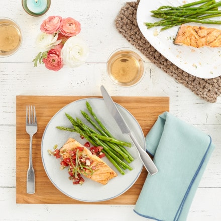 Plated salmon and asparagus